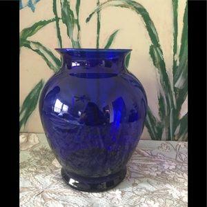 Cobalt Blue Fat Glass Vase